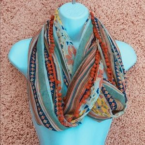Multicolored infinity scarf. Patterned chiffon